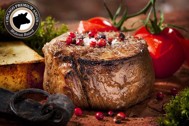 Premium Angus Beef -6(6oz) Filet Mignon Complete Trim - PLUS 1 Bottle of Seasoning