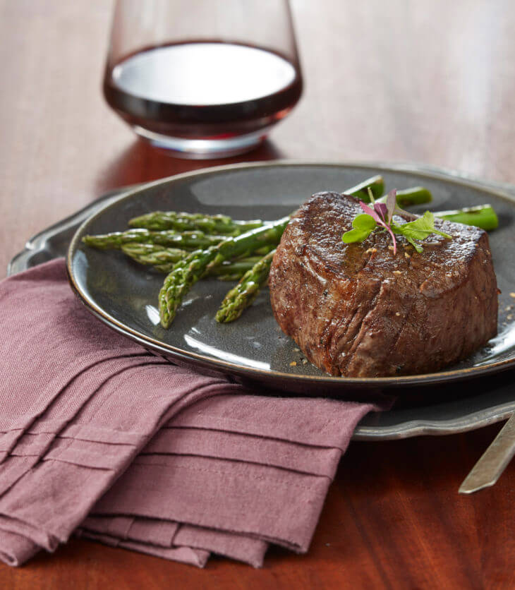 Filet mignon with wine