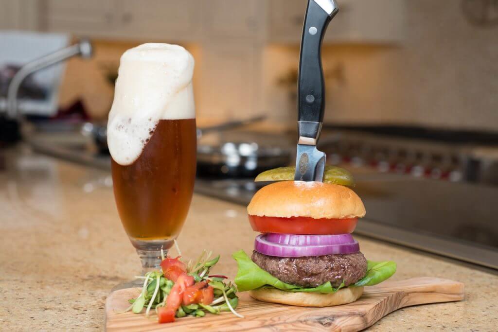 cooked juicy steak burger