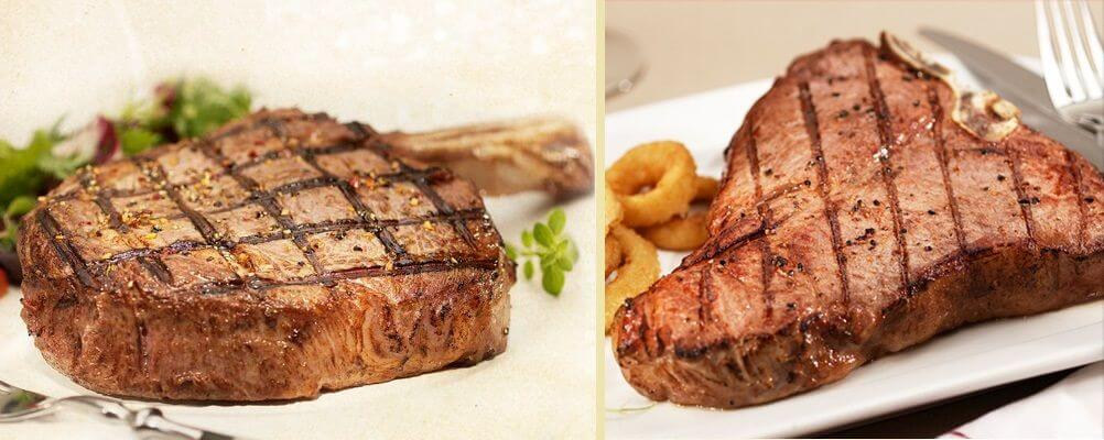 Ribeye and porterhouse steaks